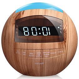 8-in-1 Bluetooth Alarm Clock Radio  Dual USB Charging Ports,