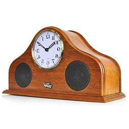 Pyle 2-in-1 Vintage Style Clock, Retro Bluetooth Speaker, Ta