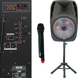 15 inch Portable Bluetooth Loud Speaker W Stand & Wirele