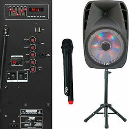 "15"" Portable Bluetooth Loud Speaker W/ Stand & Wireless Micr"