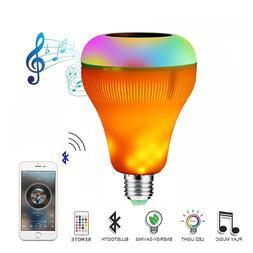 18W E27 Wireless Bluetooth Smart Flame Bulb Speaker LED RGB
