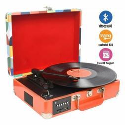 Portable 3-Speed Bluetooth USB Suitcase Vinyl Record Player