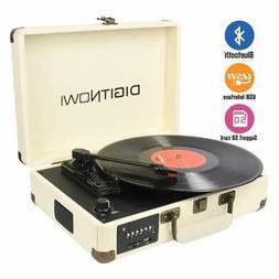 Bluetooth Portable 3-Speed USB Suitcase Vinyl Record Player