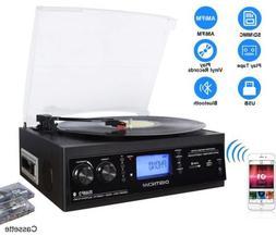 3-Speed Bluetooth Vinyl Turntable Built-in Stereo Speaker Re