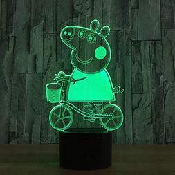 QIANDONG1 3D Speaker Lovely Pig Lamp Novelty Tractor Bluetoo