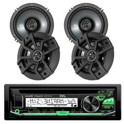 "4 Car 6.5"" Kicker 2Way Coaxial Speakers, JVC Car Bluetooth C"