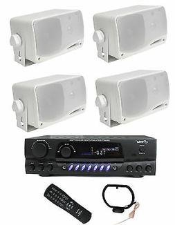 4) PYLE PLMR24 200W Outdoor Speakers + PT260A 200W Stereo Th