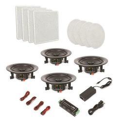 4 Speakers 8'' Bluetooth Ceiling / Wall Speaker Kit, Flu