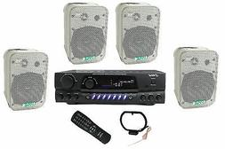"""4) Pyle 5.25"""" Outdoor Speakers + PT260A 200W Stereo Home The"""