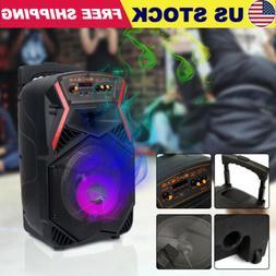 "8"" Portable Bluetooth Party Karaoke Speaker Heavy Bass Sound"