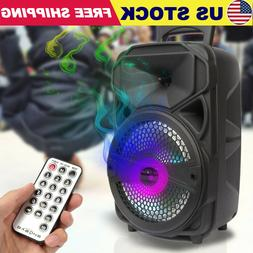 8'' Portable Rechargeable Bluetooth Tailgate Speaker LED w/