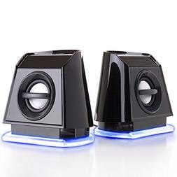 GOgroove 2MX LED Computer Speakers with Passive Subwoofer ,