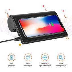 Wireless Charger with Bluetooth Speaker 4.0, 10W Portable Fa