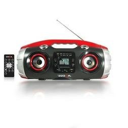 axess pbbt2709rd red bluetooth mp3 portable boombox