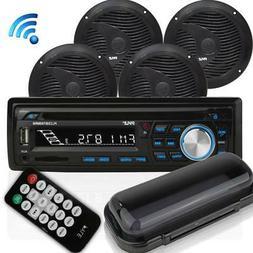 Wireless Bluetooth Marine Audio Stereo - Kit w/Single DIN Un