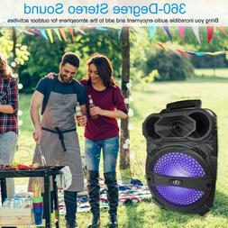 "Portable Party Speaker 8"" USB Bluetooth FM Loud Bass Sound R"