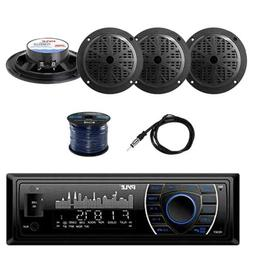Bluetooth Stereo w/Pyle Marine Speakers, Marine Antenna & Sp