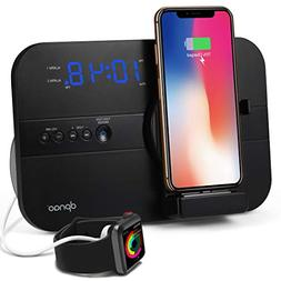 dpnao Clock Radio Dual Alarm Charging Dock Station Charge/Pl