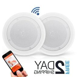 Dual 8'' Bluetooth Ceiling/Wall Speakers, 2-Way Flush Mo
