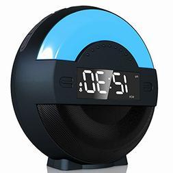 Dual Alarm Clock Radio with Bluetooth Speaker and USB Charg