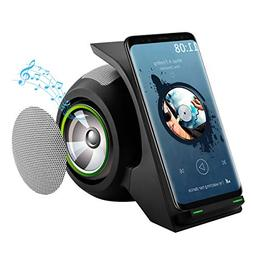 Fast Wireless Charger with Bluetooth Speaker Charging Stand