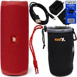 JBL Flip 5 Bluetooth Waterproof Portable Speaker,Red + Strap