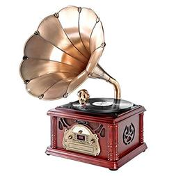 Pyle Updated Portable Turntable Phonograph -Trumpet Horn, Ca