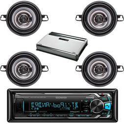 "KMMBT322U Car Bluetooth USB AUX Radio, 3.5""150W Coaxial Spea"