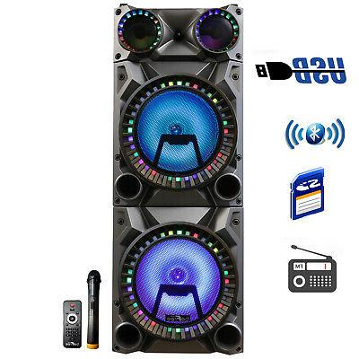 rechargeable bluetooth double subwoofer portable