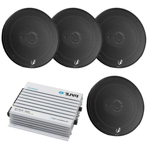 "4x Infinity 6.5"" 290W Black Car Coaxial Speakers, Marine Blu"