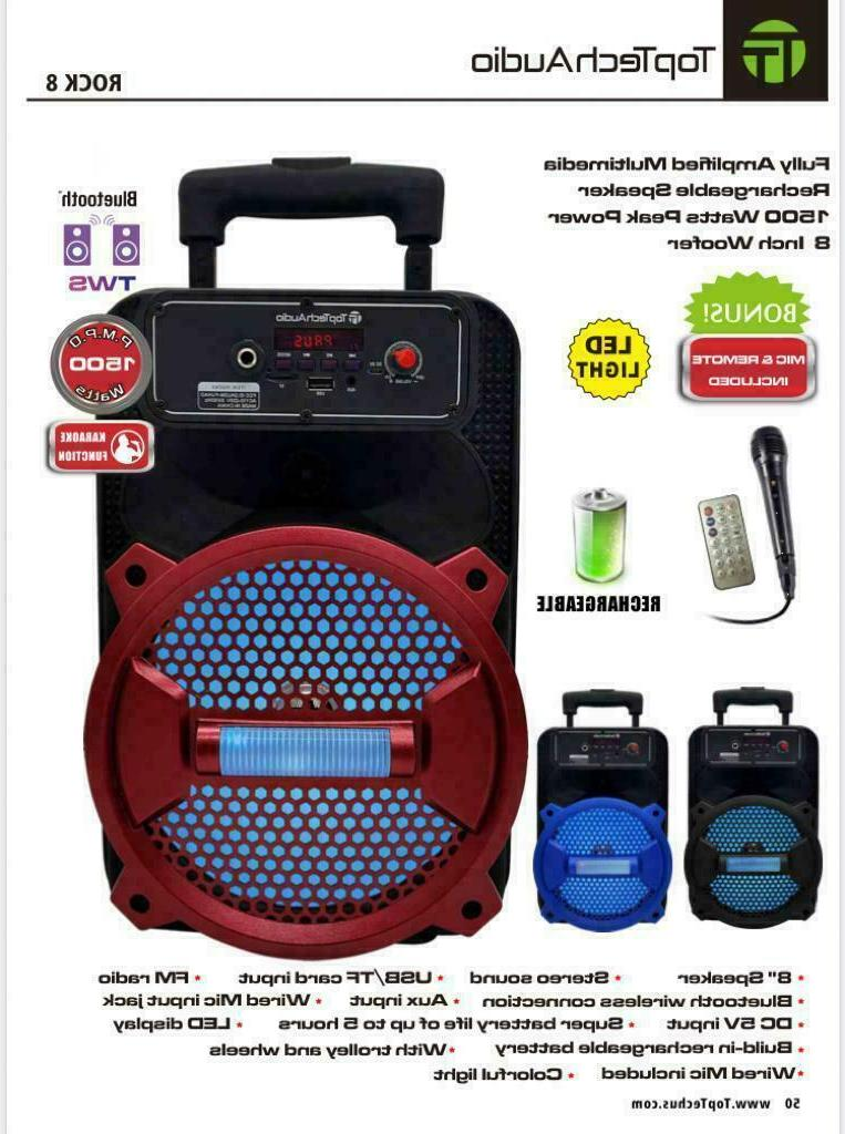 "8"" Bluetooth 1500 Watts Professional FM Radio Karaoke Multim"