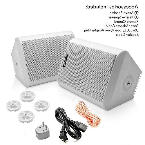 Dual Wall Speakers - 4 Inch 200 Watt 2-Way Indoor Outdoor Speaker System - a Cabinet