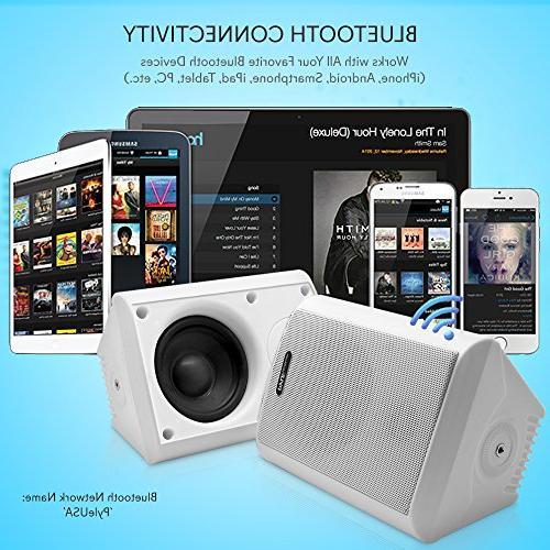 Dual Bluetooth Speakers 4 200 Watt 2-Way Audio Speaker System a Heavy Duty Grill Cabinet