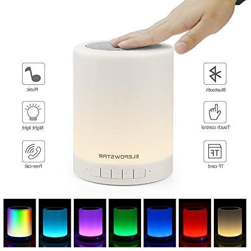 ELEPOWSTAR Night Light Bluetooth Speaker,Touch Sensor Bedside Table