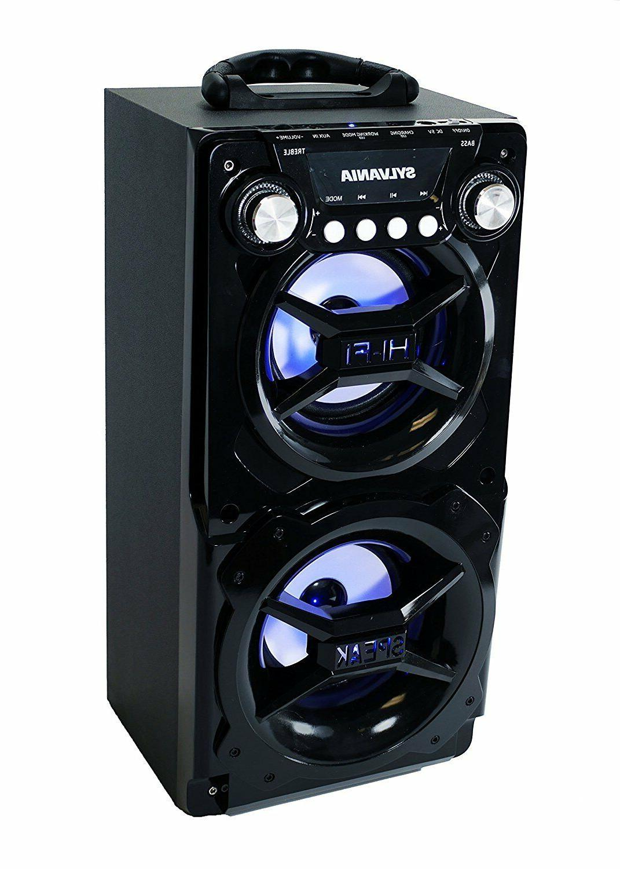 New Sylvania Bluetooth LED Portable Party Hi-Fi Speaker AUX-