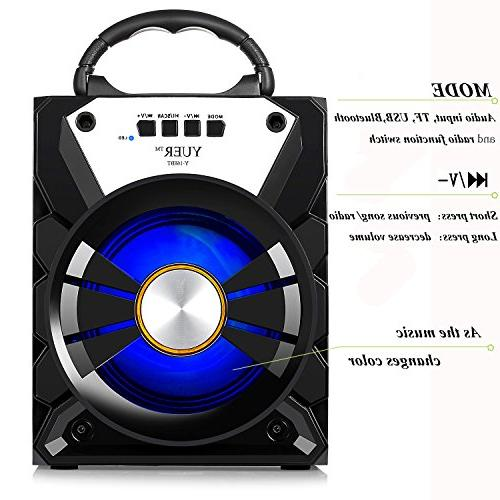 YUER Bluetooth USB FM TFCard 3.5mmAux,Color Changing Portable Speaker for Home or Outdoor
