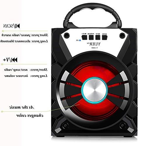 YUER Bluetooth Speaker with USB FM Radio 3.5mmAux,Color Changing Speaker Used Home or