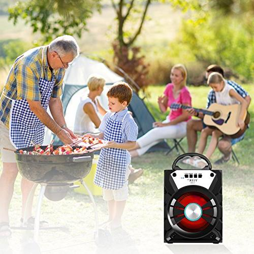 YUER Bluetooth USB FM Radio 3.5mmAux,Color Changing Wireless Speaker or Outdoor