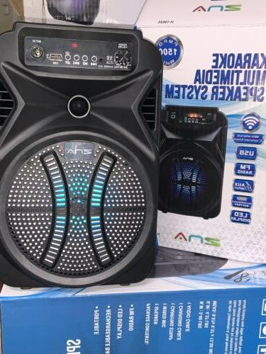 "Bluetooth speaker portable KARAOKE 1#6"" 1500watts P.M.P.O"