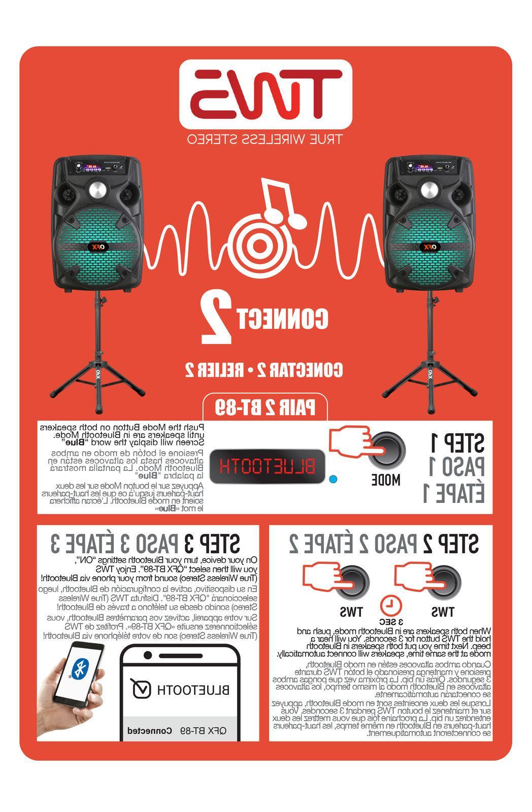 QFX PA +TWS-Bluetooth +USB/SD/FM/LED +Tripod/Mic
