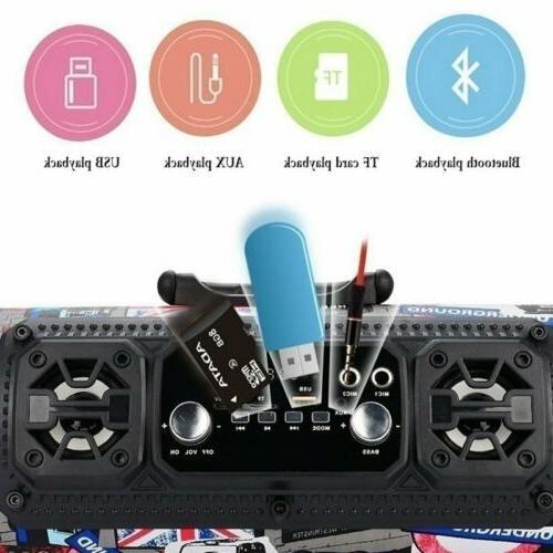 FM Portable Bluetooth Wireless Stereo Loud Super Bass Sound Aux/USB/TF