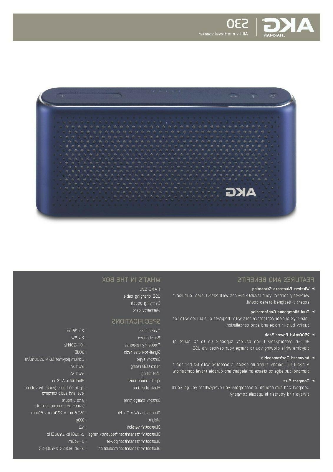 Harmon AKG S30 All-in-one Bluetooth Travel Sealed Full