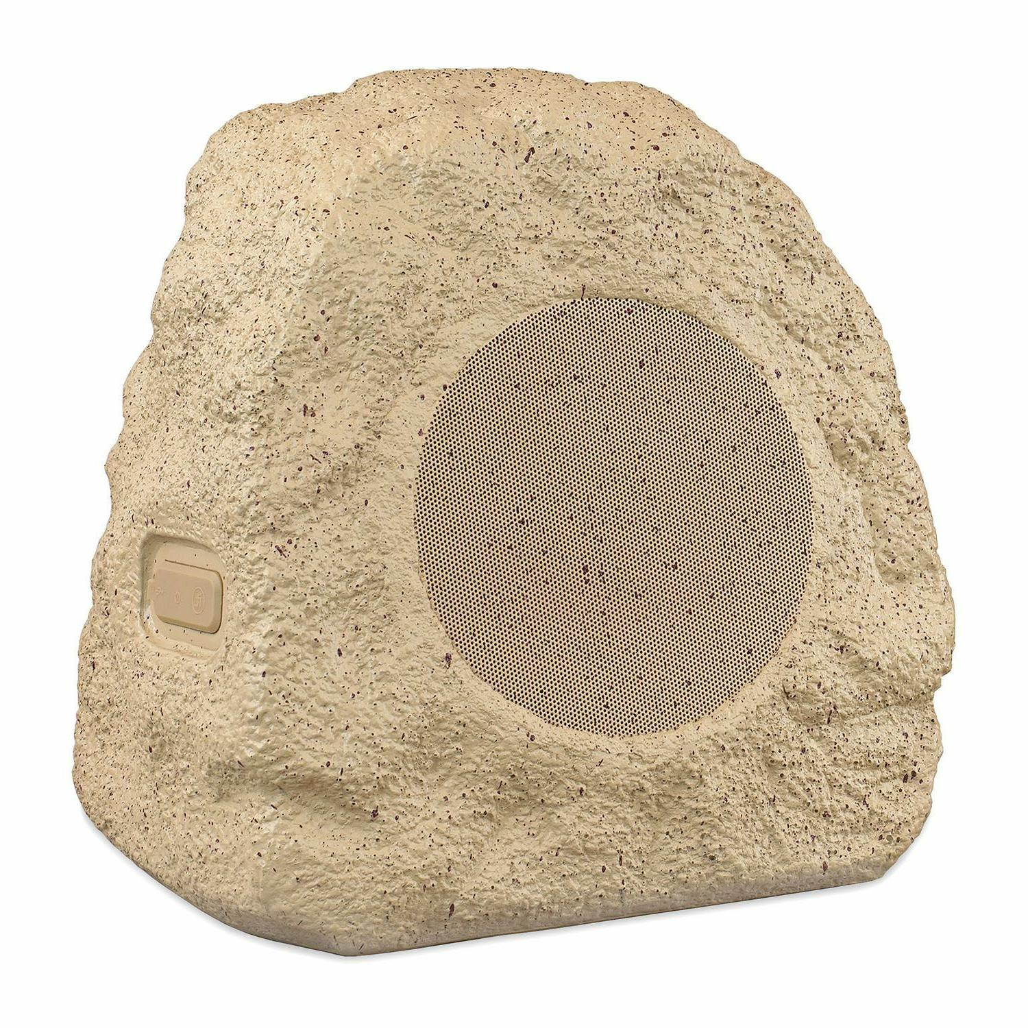 Innovative Technology Rechargeable Bluetooth Outdoor Rock Speakers, Tan