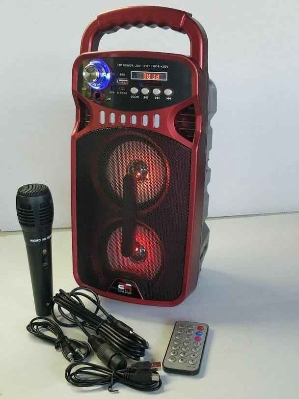 Portable Party Karaoke PA System Microphone-LED-Speaker-Bluetooth-Rechargeable