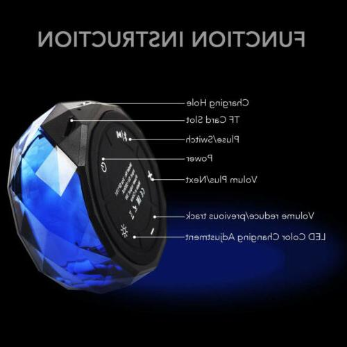 LED Portable Mini Speaker Wireless W TF Slot USB FM Radio