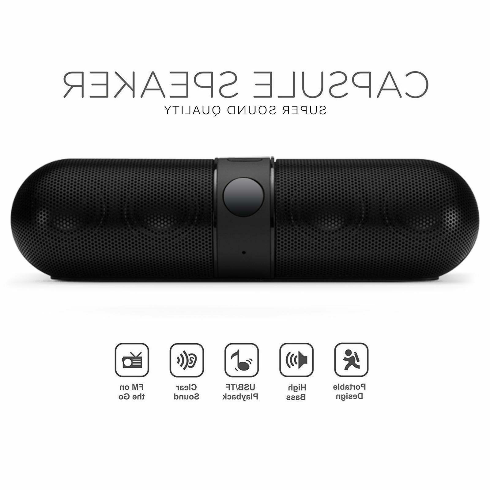 Bluetooth Wireless Speaker Mini Pill Aux USB Stereo Black