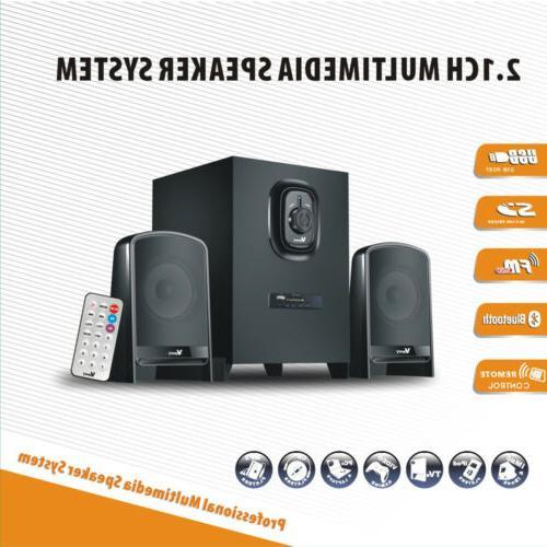 multimedia speaker system subwoofer bluetooth usb fm