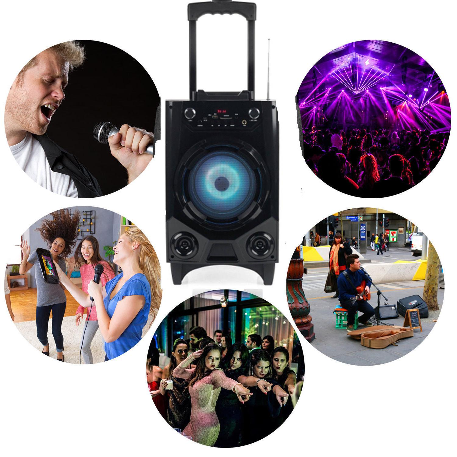 BT Party Speaker System Bluetooth Big Stereo Tailgate Loud Mic