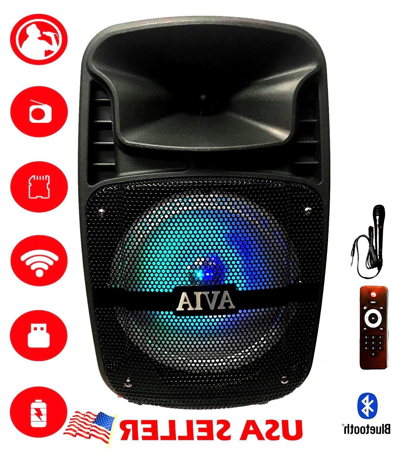 "Portable Bluetooth Speaker 8"" inch Rechargeable USB FM Radio"