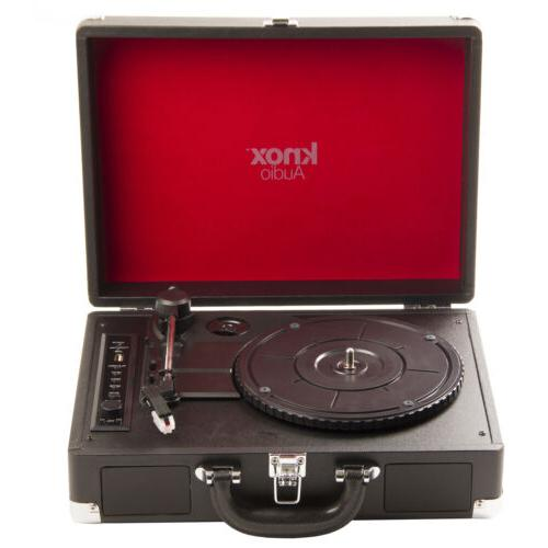 Knox Portable Bluetooth USB Turntable with Built-in Speakers
